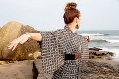 Authentic Japanese Vintage Summer Kimono Yukata EBONY by CJSTonbo, $70.00