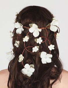 Ultimate Wedding Floral Crown - Cascading Veil of Ivory Flowers - Flower Head Piece, Hair Wreath, Circlet Flower Crown Bride, Floral Crown Wedding, Butterfly Wedding, Bridal Crown, Flower Crowns, Bohemian Hair Accessories, Flower Hair Accessories, Veil Hairstyles, Wedding Hairstyles With Veil