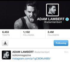 Sexy new Twitter avi and header for @adamlambert