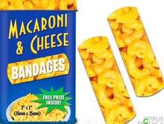 How do you make comfort food even more comforting? You turn it into a bandage of course! Check out the awesome Macaroni Bandage. These Mac Cheese printed bandages will have you feeling happy and loved in no time. Macaroni Cheese, Macaroni And Cheese, Mac Cheese, Cheese Whiz, Cheese Lover, Bandage, Food Humor, Funny Food, Gag Gifts