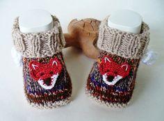Strick- & Häkelschuhe - Babyschuhe Babystiefel Fuchs - ein Designerstück von strickliene bei DaWanda