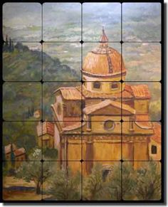 Italian Cortono Duomo Tuscan Landscape Artwork on Tile