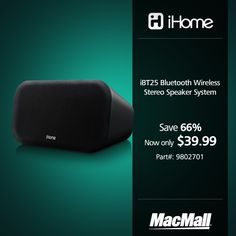 Save $66 on an #iHome bluetooth wireless speaker system at MacMall. #DailyDeal