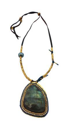 De Petra Amuletum necklace labradorite, pearl, bling