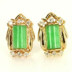 Vintage 14 Karat Yellow Gold Diamond Jade Cocktail Earrings Fine Estate Jewelry $450