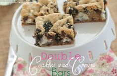 Double Cookies and Cream Kiss Cookie Bars — Punchfork
