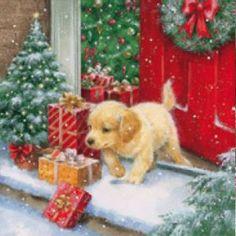 4 x Single Paper Ply/Decoupage/Craft/Christmas/Puppy and Presents Christmas Puppy, Noel Christmas, Christmas Animals, Vintage Christmas Cards, Christmas Cats, Christmas Greetings, Winter Christmas, Minimal Christmas, Natural Christmas