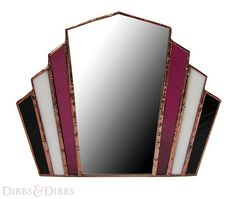 Stained Glass Art Deco Mirror magenta white black. £69.00, via Etsy.