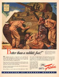 1943 Fisher GM WWII war time print ad General Sherman by Vividiom, $9.00
