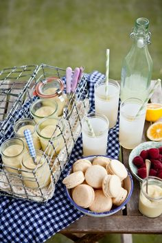 LOVE everything, EVERYTHING in this pic!!  Picnics, paper straws, meyor lemons, macarons, summer.