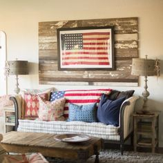 Little additions like this framed American flag can make your home look festive without cheesy!
