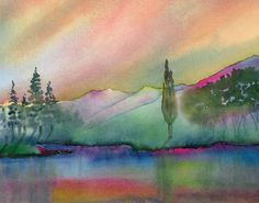 Markleeville Sunset ~ Peter Chope ~ Watercolor