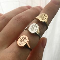 Wildflower Signet Ring - Wildflower Signet Ring in Brass - Cute Jewelry, Jewelry Box, Silver Jewelry, Jewelry Accessories, Jewlery, Zales Jewelry, Purple Jewelry, Turquoise Rings, Dainty Jewelry
