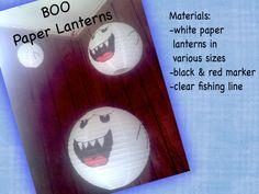 Mario Bros Party...DIY decor Boo paper lanterns