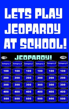 I pinned this because when I was a student my teacher used classroom jeopardy as a way to engage his students.I'd love to have a smart board and be able to do this too. I think it's a great way to learn vocab words. Jeopardy Powerpoint, Classroom Games, Classroom Management, Classroom Ideas, Smart Board Activities, Music Education, Health Education, Physical Education, School