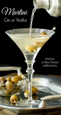 A classic martini made with gin or vodka, shaken, up and dirty, and garnished with either anchovy or blue cheese stuffed olives.