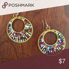 NEW!  Colorful Beaded Gold Hoop Dangles These beautiful multicolor-beaded & gold hoop dangles are versatile & fun! Jewelry Earrings