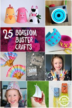 """""""Mom, I'm Bored!"""" 25 Boredom Buster Crafts - great for school break or an afternoon when kids start complaining.  Channel that energy for creative play!"""