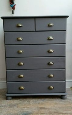 Stunning pine chest of drawers - bun feet painted grey - shabby chic industrial