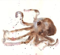 "OCTOPUS fine ART giclee print 8x10 - ""All Fingers and Thumbs""- archival quality art print taken directly from my original watercolor 8x10 inches"