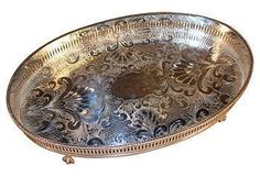 Perfect silver serving tray. Vintage Decor | One Kings Lane