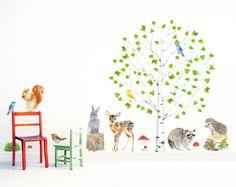 Muurstickers - Bosdieren met boom