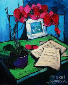 Orchid And Piano Sheets Print featuring the painting Orchid And Piano Sheets by Mona Edulesco