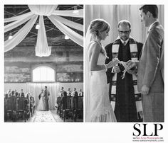 Indoor Ceremony with Draped Fabric Ceiling