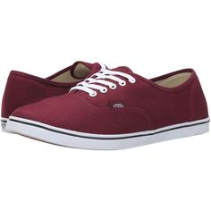 Vans Authentic Lo Pro (Windsor Wine) Skate Shoes (78 BRL) ❤ liked on Polyvore featuring shoes, sneakers, vans, burgundy, burgundy shoes, wine shoes, vans shoes, burgundy evening shoes and holiday shoes
