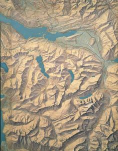 Section of a hand illustrated map of the Canton of Zurich by the father of Hillshading, Eduard Imhof, 1934.