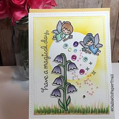 A little card I made last night.  I was inspired by @kathyrac and @lawnfawn.  Aren't these sweet fairies just the cutest??!!