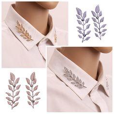 1 Pair Mode Indah Daun Bros Daun Pin Bros Untuk wanita Besar Bros Pins 2 Warna Emas Perak Meninggalkan Broche kerah