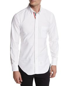 M0FS8 Thom Browne Long-Sleeve Cotton Oxford Shirt, White