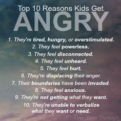 Top 10 Reasons Why Kids Get Angry (and how you can help!) – One Time Through Positive parenting advice. Includes the top 10 reasons why kids get angry, and helpful parenting tips for managing an angry child. Parenting Advice, Kids And Parenting, Parenting Classes, Parenting Styles, Peaceful Parenting, Parenting Humor, Attachment Parenting Quotes, Gentle Parenting Quotes, Parenting Websites