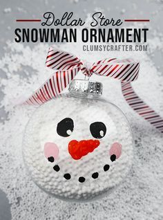 Snowman Christmas Ornament - Easy Dollar Store Christmas Craft You can make this cute DIY snowman Christmas ornament using supplies from the dollar store! Easy and fun dollar store Christmas Craft - Complete step by step tutorial to help you! Snowman Christmas Decorations, Diy Snowman, Christmas Ornaments To Make, Homemade Christmas Gifts, Christmas Snowman, Kids Christmas, Holiday Crafts, Christmas Bulbs, Snowman Ornaments