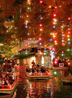 San Antonio Riverwalk at Christmas. For YEARS my parents would drive me and my grandparents down to San Antonio for Thanksgiving so we could all watch the day-after-thanksgiving turn-on-the-lights parade. I cannot wait to take my family one day!
