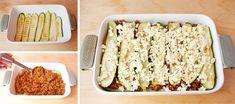 Cuketové lasagne | Recept na chutné lasagne bez cestovín Mozzarella, Macaroni And Cheese, Bread, Ethnic Recipes, Food, Lasagna, Mac Cheese, Meal, Essen