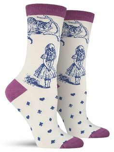 In this gorgeous rendition of John Tenniel's illustrations for Alice in Wonderland, Alice and the Cheshire Cat come to life on these unique bamboo socks. Covered in an illustration on the ankle and ca Silly Socks, Cute Socks, My Socks, Awesome Socks, Bamboo Socks, Colorful Socks, Leggings, Cheshire Cat, Cat Design