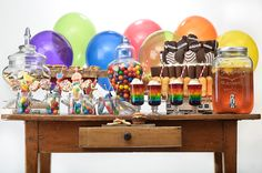 kids #sweettable. gum, twix pops, candy skewers, jello floats, snack cake cake, chocolate dipped chips with sprinkles
