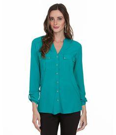 Camisa Feminina em Malha com Bolsos - Lojas Renner