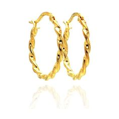 .925 Sterling Silver Gold Rhodium Plated Hoop Earring