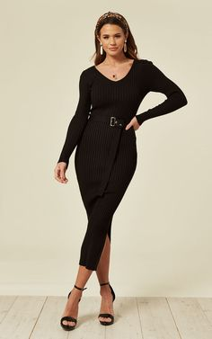 22e1d2774e Soft Knitted Ribbed Long Bodycon Dress With Side Split In Black By CY  Boutique