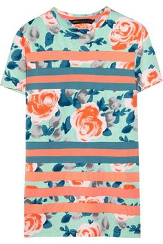 Marc by Marc Jacobs Jerrie floral-print cotton tee. Great color combination, and i like that the stripes are sewn in rather than just printed. It's the little things...