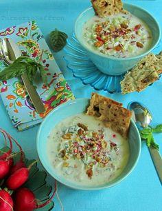 Turmeric and Saffron: Abdoogh Khiar - Persian Cold Yogurt Soup with Cucumbers, Herbs, Walnuts & Raisins