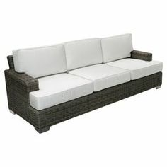 "Indoor/outdoor sofa with a woven-inspired design and Sunbrella fabric cushioning.  Product: SofaConstruction Material: Polyethylene and SunbrellaColor: Grey and whiteFeatures:  Weather resistantMade in the USACushions includedDimensions: 36"" H x 96"" W x 37"" D"