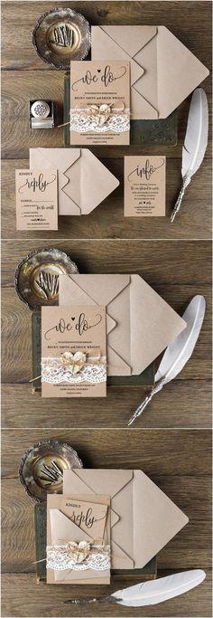 Rustic wedding invitations from @4LOVEPolkaDots                                                                                                                                                                                 More
