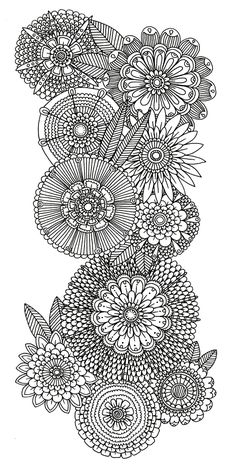 abstract doodle flower Coloring pages colouring adult detailed advanced printable Kleuren voor volwassenen