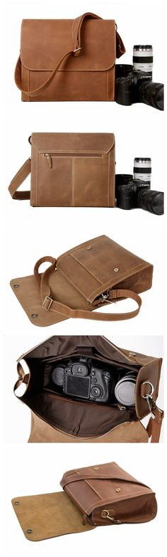 High Fashion Genuine Leather Cross Body Bag Messenger Bag Statchel Bag Model Number: Dimensions: x x / x x Weight: / Hardware: Brass Hardware Shoulder Strap: Adjustable & Removable Color: Vintage Brown Features: Leather Camera Bag, Leather Crossbody Bag, Leather Bag, Fashion Bags, High Fashion, Dslr Camera Bag, Popular Bags, Natural Leather, Fashion Pictures