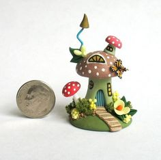 Toadstool Butterfly Fairy House