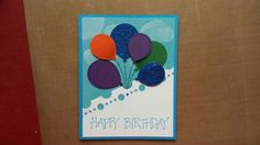This Birthday card was made with paper from general craft stores.   I used Stampin Up stamp sets Balloon Celebration and Greetings 4 You. The balloons were cutout with the matching Stampin Up punch.  For the other cutout I used Spellbinders Classic Postage Stamp die set. The inks I used are Stampin Up Tangelo Twist, Tempting Turquoise and Memento Tuxedo Black, Cottage Ivy as well as Tsukineko Brilliance Moonlight White.